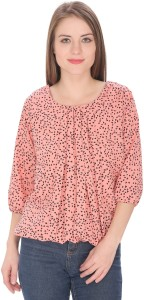 Rashi Creation Party 3/4th Sleeve Geometric Print Women's Pink, Black Top