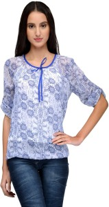 Tunic Nation Casual 3/4th Sleeve Floral Print Women's Multicolor Top