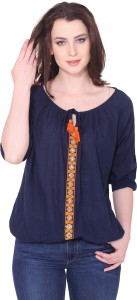 Aania Casual 3/4th Sleeve Embroidered Women's Blue Top