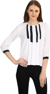 Funku Fashion Casual 3/4th Sleeve Solid Women's White Top