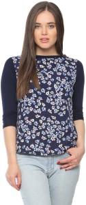 Vvoguish Casual 3/4th Sleeve Printed Women's Dark Blue Top