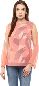Athena Party Full Sleeve Printed Women's Beige, Multicolor Top