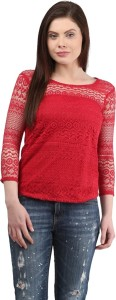 Mayra Casual 3/4th Sleeve Solid Women's Red Top