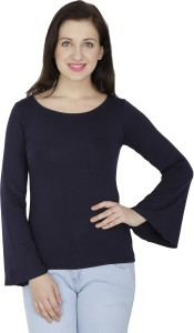 Svt Ada Collections Casual Full Sleeve Solid Women's Dark Blue Top
