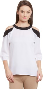 Ruhaan's Casual 3/4th Sleeve Solid Women's White, Black Top