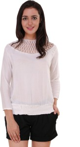 BuyNewTrend Casual 3/4th Sleeve Solid Women's White Top