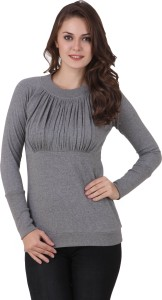 Texco Casual Full Sleeve Solid Women's Grey Top