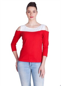 Veakupia Party 3/4th Sleeve Solid Women's Red, White Top
