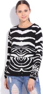 Van Heusen Casual Full Sleeve Printed Women's White, Black Top