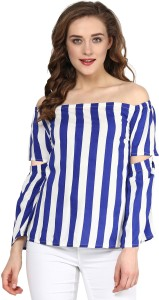 Sassafras Casual 3/4th Sleeve Striped Women's Blue, White Top