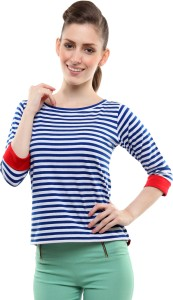 Miss Chase Casual 3/4th Sleeve Striped Women's Blue Top