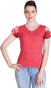 Veakupia Casual Short Sleeve Solid Women's Red Top