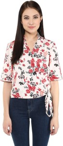 Harpa Casual Short Sleeve Floral Print Women's White Top