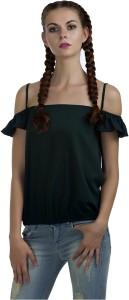 Marzeni Casual Noodle strap Solid Women's Dark Green Top