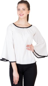 Khhalisi Party Bell Sleeve Printed Women's White Top