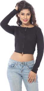 Abony Casual Full Sleeve Solid Women's Black Top