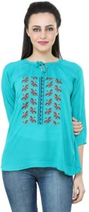 BuyNewTrend Casual 3/4th Sleeve Embroidered Women's Light Blue Top