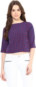 Miss Chase Casual Short Sleeve Checkered Women's Blue Top