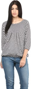 Mayra Casual Balloon Sleeve Printed Women's Black, White Top