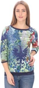 Alfa Fashion Casual 3/4th Sleeve Graphic Print Women's Multicolor Top