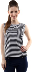 Miss Chase Casual Sleeveless Striped Women's Black Top