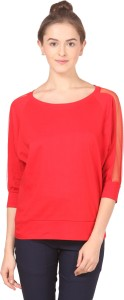 Fashion Expo Casual 3/4th Sleeve Solid Women's Red Top