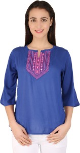 BuyNewTrend Casual 3/4th Sleeve Embroidered Women's Blue Top