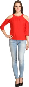 Color Fuel Party 3/4th Sleeve Solid Women's Red Top