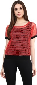 Mayra Party Short Sleeve Solid Women's Red Top