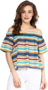 Sassafras Casual Short Sleeve Striped Women's Multicolor Top