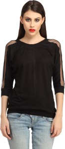 Cation Casual 3/4th Sleeve Solid Women's Black Top