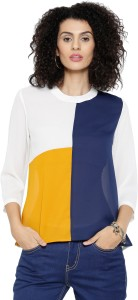 Sassafras Casual 3/4th Sleeve Solid Women's White, Dark Blue, Yellow Top