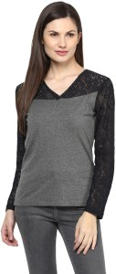 Harpa Party Full Sleeve Solid Women's Grey Top