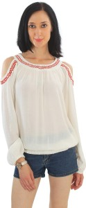 Good Fashion Casual 3/4th Sleeve Embroidered Women's White Top