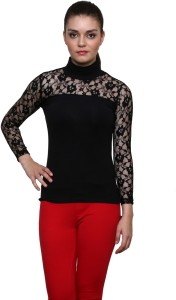 Le Bourgeois Casual Full Sleeve Solid Women's Black Top