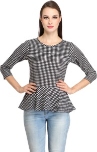 Color Fuel Party 3/4th Sleeve Houndstooth Women's Multicolor Top