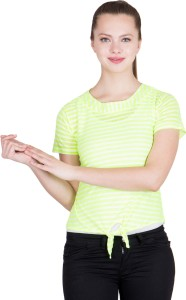 khhalisi Casual Short Sleeve Striped Women's Green, White Top