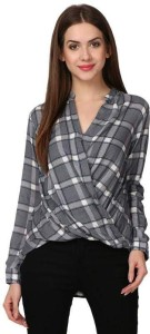 Cladien Casual Full Sleeve Checkered Women's Grey Top