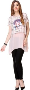 Areum Casual Sleeveless Printed Women's Pink Top