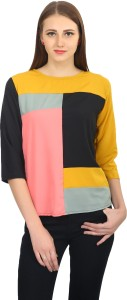 Funku Fashion Casual 3/4th Sleeve Applique Women's Brown Top