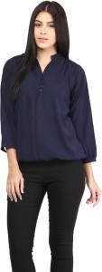 Mayra Casual Balloon Sleeve Solid Women's Dark Blue Top