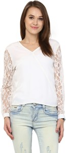 Harpa Casual Full Sleeve Solid Women's White Top