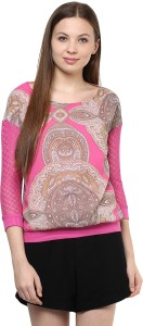 AR2 Party 3/4th Sleeve Printed Women's Pink Top
