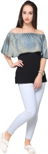 Ahalyaa Party Short Sleeve Printed Women's Multicolor Top