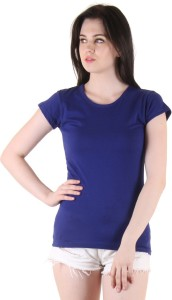 Diaz Casual Short Sleeve Solid Women's Blue Top