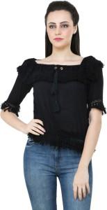 BuyNewTrend Casual Short Sleeve Solid Women's Black Top