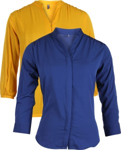 Vvoguish Casual 3/4th Sleeve Solid Women's Yellow, Blue Top