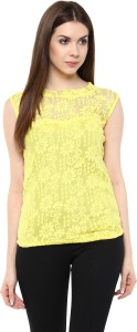 Mayra Party Sleeveless Solid Women's Yellow Top