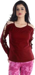Veakupia Casual Full Sleeve Solid Women's Maroon Top