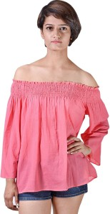 ISTRI Casual 3/4th Sleeve Solid Women's Pink Top